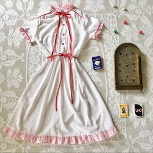 Vintage white and red polka dot bows and ruffle short sleeve midi dress
